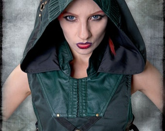 Hunter Hoodie Vest with Green Leather Panels & Brass Hardware by Loose Lemur Clothing