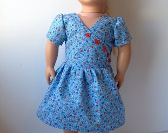 Floral print doll dress, 1930s style dress, 18 inch doll clothing, blue short sleeve dress
