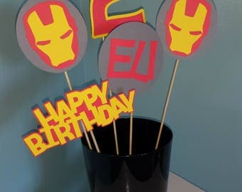 Ironman Centerpiece, Ironman Red, Yellow and Gray Centerpiece for Birthday Party, Party Decorations, Superhero Themed Party