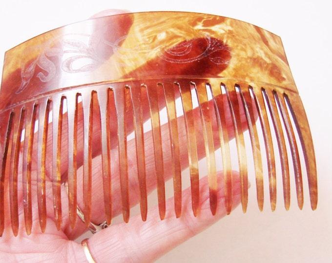 Large Antique Decorative Celluloid Faux Tortoiseshell Hair Comb / Vintage Hair Accessory