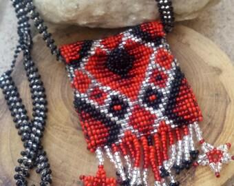 Beaded Medicine Bag Healing Amulet Bag Treasure Essential Oils Necklace BOHO Hippie Handcrafted Beaded Trinket Peyote Pouch Stash Jewelry