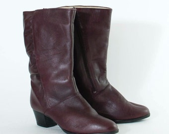 Vintage 1980's Women's Maroon Leather Calf Heeled Boots UK 5 EU 38 US 7