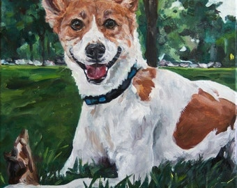 CUSTOM Pet Portrait Oil Painting 16x16 Pet Memorial Birthday Gift