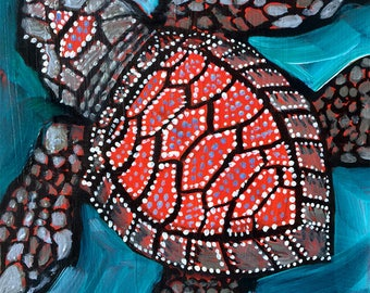 Baby Sea Turtle Giclee Print 4x5inches/ Turtle/ Baby Nursery/ Kids Room Print