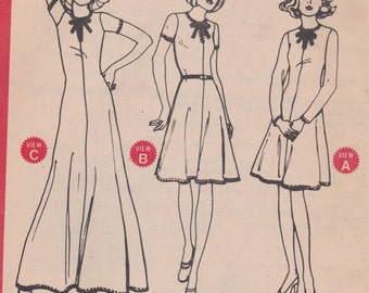 70s Simple Dress Pattern McCalls 3968 Size 16 Uncut