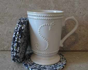 Clothesline Coasters, Coasters, Coiled Coasters, Scrappy Coasters,  Fabric coasters, Set of 4, gray, charcoal, flowers, white