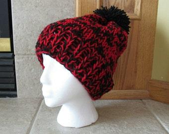Slouch Hat, Knit hat, Crochet Hat, Tam Hat, Cloche Hat, fair isle, ski hat, retro, bobble hat, black, red