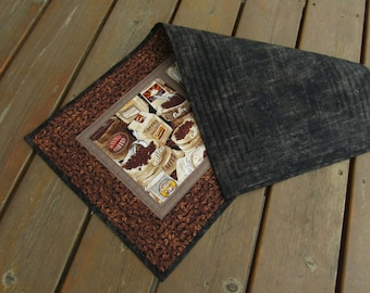 Table Runner, Table topper, quilted table runner, coffee table runner, coffee beans, caffeine, patchwork table runner, coffee shop