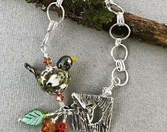 Lampwork Bead Bracelet, Lampwork Jewelry, Handmade Lampwork Bird, Bird Jewelry, Fall Colors, Sterling Silver, Rustic Bracelet
