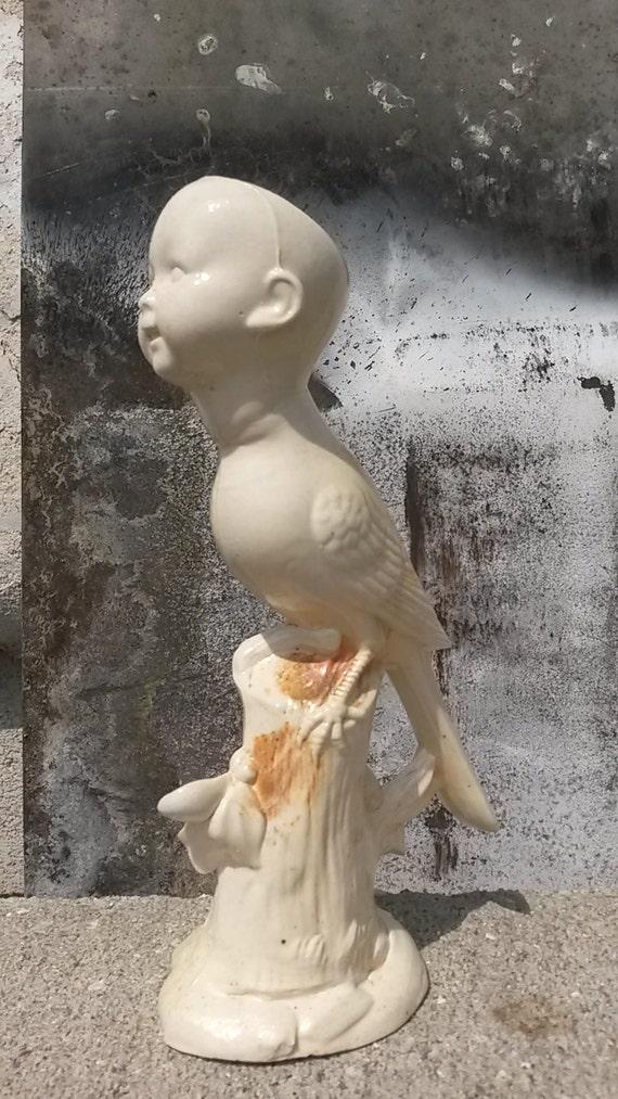 Creamy Baby Bird Slip Cast Sculpture