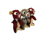 Vintage Stuffed Toy - Velveteen Red Black & White Cats Kamar Dream Pets
