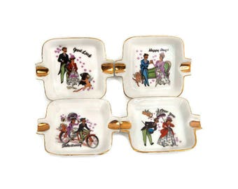 Vintage Set of 4 Cocktail Ashtrays Hand Painted Lefton Made in Japan White Porcelain Gold Trim Happy Days I Love You Take it Easy Good Luck