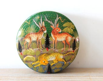 Boho forest animal vintage treasure box / hand painted trinket memento box / hand painted animal laquer small round box / deer tiger fox