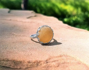 Genuine Beach Sea Glass Sterling Silver Ring - Rare Yellow - Adjustable