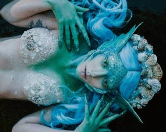 READY TO SHIP Sirens call mermaid creature fey shell headpiece headdress