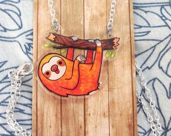 Sloth necklace, pendant, Acrylic jewelry, animal charm, sloth charm