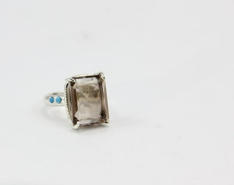Smoky Quartz Ring, Turquoise Ring, Faceted Smoky Quartz Silver Ring