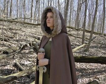 Renaissance Cape, Medieval Cloak, Fur Trimmed Hood, Viking - Brown