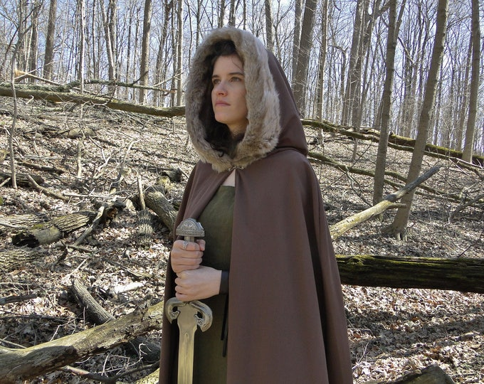 Renaissance Cape, Medieval Cloak, Fur Trimmed Hood, Viking - Brown