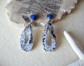 SALE, Agate Earrings, Agate Slice Geode Earrings, Lapis Lazuli Earrings, 92.5 Silver Earrings, Agate Druzy Earrings, Jewelry Gifts For Her