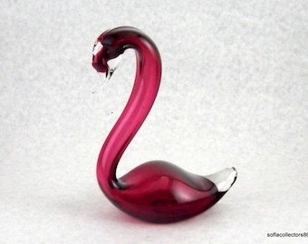 Rossi Cranberry Glass and Crystal Swan Figurine - Vintage Rossi Glass Niagara