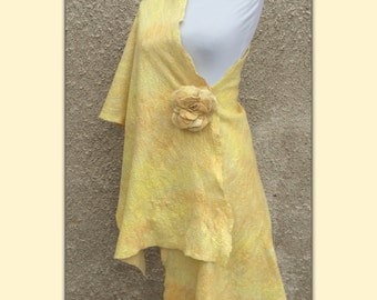 Felted shawl, wrap, large golden scarf, brooch flower Rose, fine merino, silk, scarf & pin, cape, cobweb scarf, GOLDEN SUN and ROSE, yellow