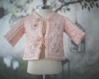 Antique Quilted Silk Coat - PRETTY PINK Jacket for Girl Infant // Baby Floral Jacket, Embroidered Coat. Pink Jacket, Silk Infant Clothing