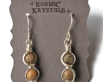 Fossilized Coral Gemstone Dangle Earrings / Natural Agatized Fossil Coral / Sterling Silver Wire Work / Ancient Ocean Collection