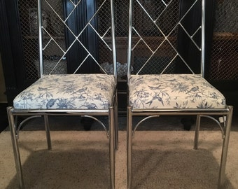 Mid Century modern style take on Chinese Chippendale Faux Bamboo side chairs(2)-Local pick up only or your shipper