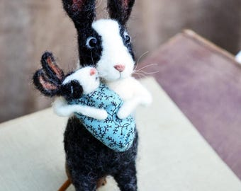 Needle Felted Little Mamma Rabbit with baby - Needle Felted Ornament by Rustles from the Meadow MADE TO ORDER
