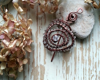 Shawl pin, scarf pin, copper wire brooch,  Wire Wrapped Solid Copper Floral brooch, hammered copper fibula