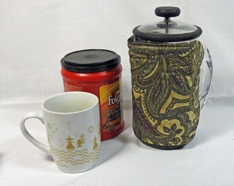 Bodum French Press Cozy - Cafetiere Cosy - Coffee Pot Cozy - Brown Paisley Fabric