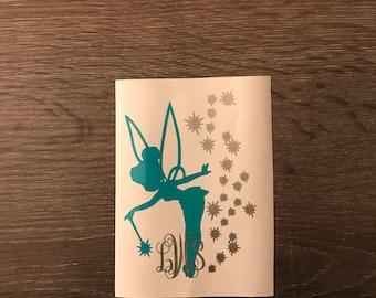 Tinker Bell Pixie Dust Monogram Vinyl Decal, Yeti Decal, Monogram, Vinyl Monogram Phone Sticker, Disney, Peter Pan, Fairy