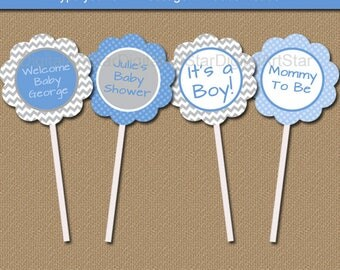 Boy Baby Shower Party Decorations, Baby Boy Shower Ideas, Blue Gray Chevron Cupcake Toppers, DIY Printable Party Tags, Boy Birthday Tags BB1
