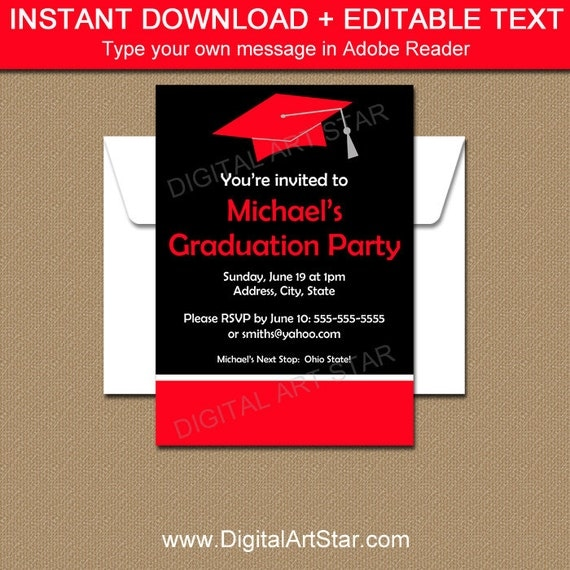 Editable Graduation Invitation Template  Printable High School