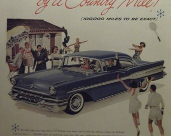 1957 PONTIAC STAR CHIEF  Original Vintage Automobile Advertisement Car Shop Garage Print Additional Ads Ship Free Ready To Frame