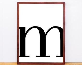 Serif Letter M, Typography Print, Letter Print, Printable Monogram, Printable Art, Minimal Decor, Black and White Wall Art, Digital Download