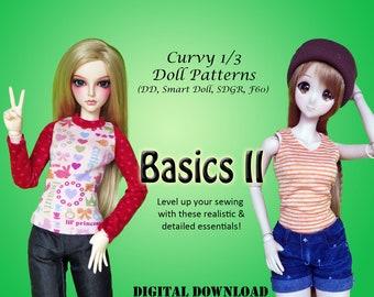 Basics 2 T-shirt & jeans clothes pattern for Curvy 1/3 60cm BJD: SD, SDGR, Dollfie Dream, Smart Doll,