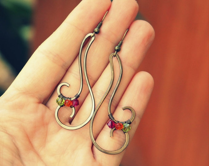Multicolor copper wire earrings Nature jewelry Fall Anniversary gifts Antiqued brass Gift for mother her girlfriend Autumn Simple Wedding