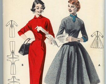 Vintage Butterick Pattern 7474 - ca. 1953 - Jr. Miss and Misses' Quick and Easy Dress Size 12 Bust 30