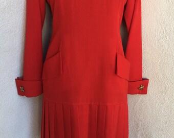 Vintage Bill Blass red wool dress pleated pockets drop waist retro 80s sz 6