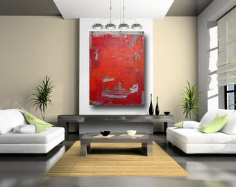 Large Abstract Red Art Painting Canvas Wall Art Original Art Painting Fine Art Painting Acrylic Contemporary Painting 36 x 48 Cheryl Wasilow