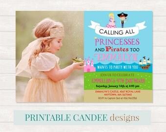 Princess and Pirate Birthday Invitation, Princess Pirate Birthday, Neutral Birthday Party Invite, Pirate Birthday, Princess Birthday