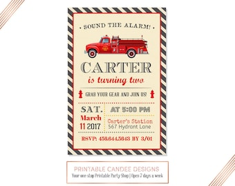 No Photo Fire Truck Invitation, Fire Truck Birthday Invitation, Firetruck Invite, Fire Engine Invitation, Firefighter Party