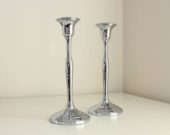 Chrome Plated Art Deco Candlestick Pair—Chromium by Cromwell Silver Mfg