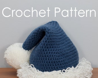 Holiday Hat Pattern, Santa Hat, Christmas Hat, Pom Pom hat, Crochet Pom Pom Hat Pattern