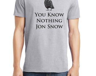 Jon Snow Shirt, You Know Nothing Jon Snow Shirt, Game of Thrones Shirt, District Threads Shirt, Direct to Garment, Men's Heather Grey Shirt