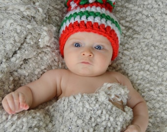 Christmas Hat, Red White and Green Striped Christmas Pom Pom Hat- Winter beanie- available in all sizes