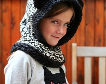 The Wee Wanderer - Childs Bear Hood - Hand Knit Wool Hood - Bear Ear Hood - Hooded Cowl - Kids Animal Hood - Teddy Bear Hat - Winter Hat