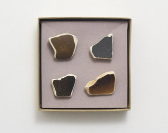 Unique Home Decor Gift | Black Brown Pottery Shards Magnets, Sea Founds, Set 4 ceramic stone magnets, gift for work, coworker, massege board